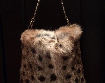 Leopard Printed Rabbit Fur Handbag
