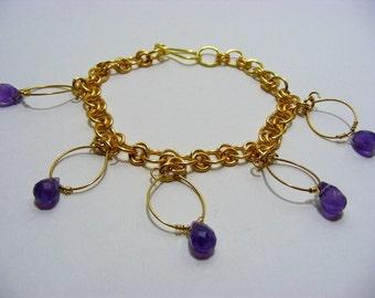 Amethyst Drop Charm Bracelet