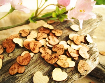 100pcs Love 15mm Engraved Wooden Hearts Rustic Wedding Party Table Confetti Reception Decoration Bridal Shower Favor Stuffers