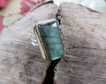 Ring, sterling, jewelry, Labradorite, size 8, handmade, statement ring, bohemian jewelry, metalwork, gemstone, natural stone, greens, silver