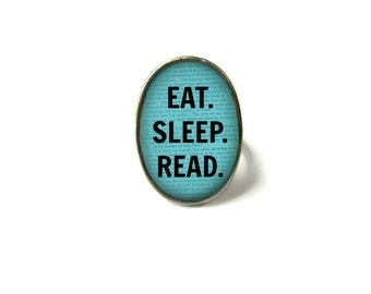 Adjustable Eat Sleep Read Book Ring, Quote Jewelry, Book Page Jewelry, Bookworm Ring, Nerdy Book Jewelry, Book Page Ring, Book Lover Jewelry