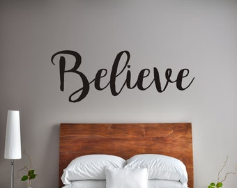 Believe Vinyl Decal | Inspirational Decal | Wall Quote Decal | Brom