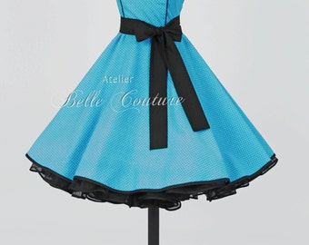 50s petticoat dress aquablue/white item: 2805