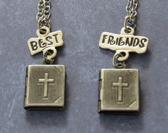 Bible Best Friends Necklace Set *Christian,bff,friends,locket,gift ideas,for girls,friendship gifts,for friends,religion,religious jewelry