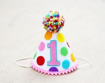 Girls 1st Birthday Small Rainbow Party Hat - Girls Polka-dot Felt Party Hat - Cake Smash