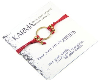 Best Seller Karma Bracelet- Red and Gold Karma Bracelet, Karma Jewellery, Gold Circle Bracelet, Yoga Bracelet, Good Vibe Bracelet