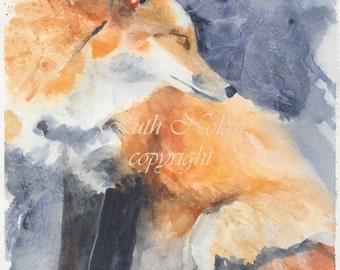 ORIGINAL Red fox watercolour painting