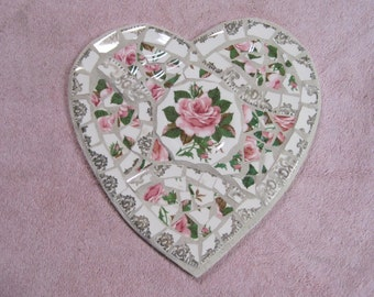 Mosaic Heart made with recycled china in shades of pink and white