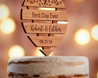 Personalized Wedding Cake Topper Rustic | Custom Wedding Cake Topper | Mr and Mrs Cake Topper | Rustic Wedding Decor  CT#25