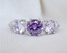 Amethyst Three Stone Ring in Sterling Silver