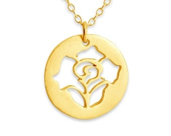Open Rose Bloom Coin US National Flower Floral Love Symbol Charm Pendant Necklace #14K Gold Plated over 925 Sterling Silver #Azaggi N0242G