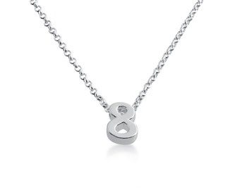 Number Eight ( 8 ) Symbol Serif Font Charm Pendant Necklace #925 Sterling Silver #Azaggi N0597S_8