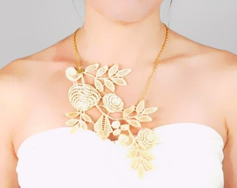 SALE large cream gold lace necklace - hand dyed cream gold floral bib - chic vintage art deco - jewelry gift
