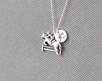horse Necklace. Personalized Initial Necklace. gift for friend sister mom he.r No43