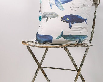 Wonderful Whales Cotton Cushion Cover