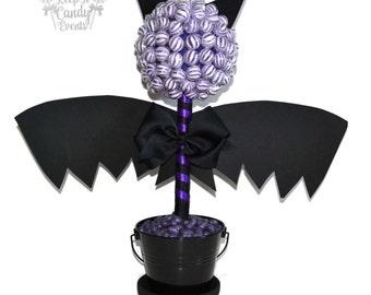 Bat Candy Topiary, Halloween Centerpiece, Bat Lollipop Centerpiece, Candy Buffet, Halloween Wedding, Bat Centerpiece, Candy Tree, Candy Bat