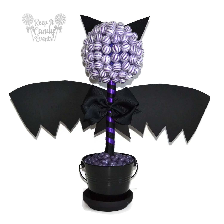 Bat candy topiary halloween centerpiece lollipop