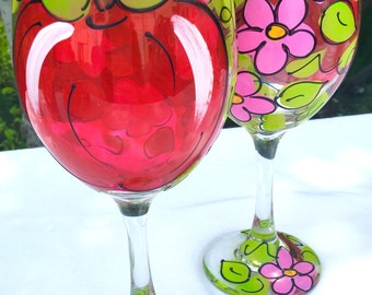 Red Apple Cherry Blossom Wine Glass - Hand Painted Apple Cherry Blossom Wine Glass