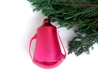 Ruby red Teapot Coffee pot Russian Christmas ornament Glass Christmas decoration Xmas Glass figurine Kettle Soviet Gift for tea lovers