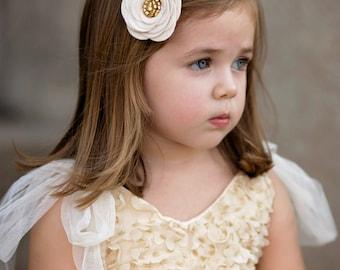 Felt Flower Hair Clip - Felt Flower - Felt Headband - Headbands for Girls - Hair Clips for Girls - Ivory and Gold Flower Clip - Flower Clip