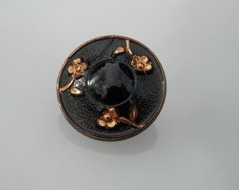 Flowers Black Glass Vintage Button