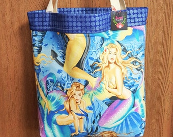 Large tote bag, Tote bag, Fabric tote, Alexander Henry, Mermaids