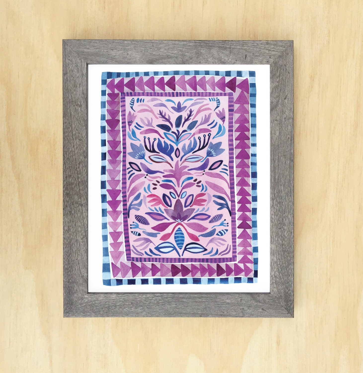 Pink And Navy Rug Design // Archival Art Print Of Original