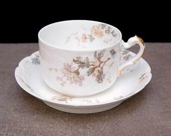 Limoges teacup, Haviland Limoges France,  Porcelain Teacup, Tea Cup and Saucer, Antique China, Soft Pastels,  Mother's Day Gift for Her