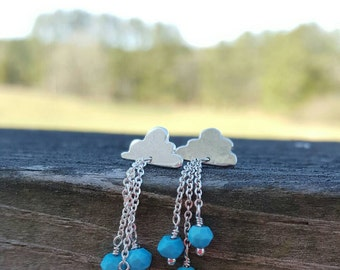 Little clouds and raindrops sterling silver and genuine turquoise earring studs