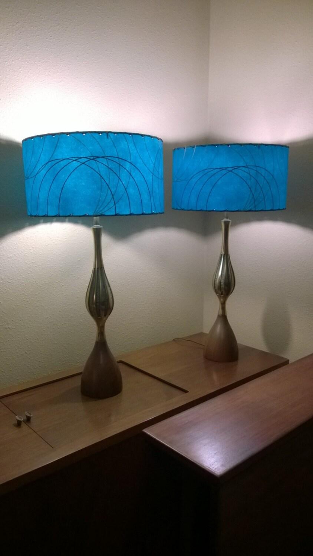 mid century style fiberglass lamp shade retro modern teal. Black Bedroom Furniture Sets. Home Design Ideas