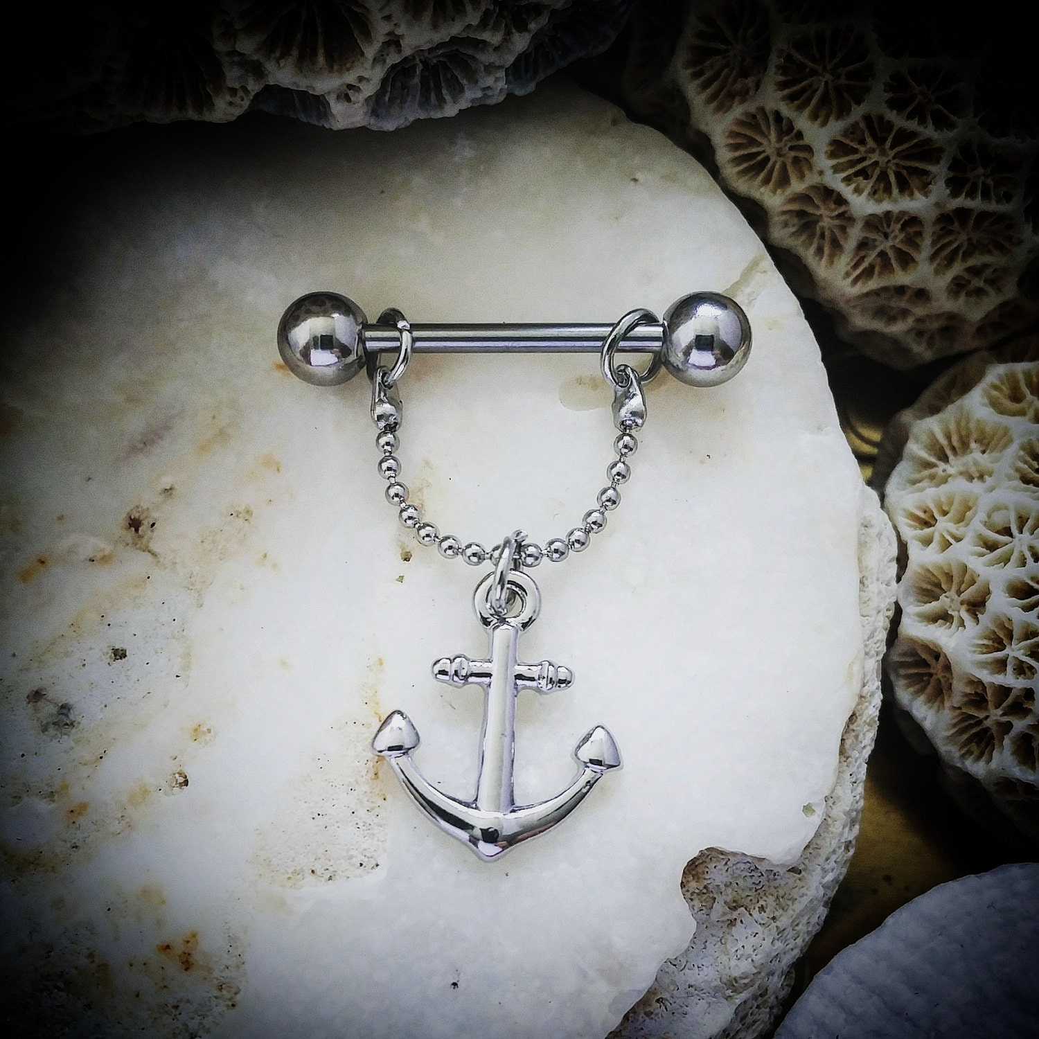 Vintage anchor silver nipple bar nipple barbell by for Pierced nipple stretching jewelry