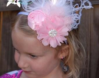 Couture Feather Pink White Chiffon Satin Flower Pearl Rhinestone Headband, Newborn Baby Girl Toddler, Flower Girl, Wedding - SB-032