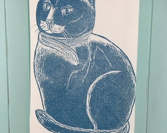 Block Printed Cat with Hat and Scarf