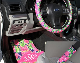 Preppy Lilly Inspired Flamingo Car Accessories MIX AND MATCH Car Mats Steering Wheel Cover & Seat Belt Covers Personalized Custom Monogram