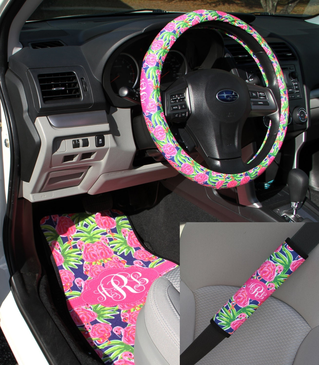 preppy lilly inspired flamingo car accessories mix and match. Black Bedroom Furniture Sets. Home Design Ideas