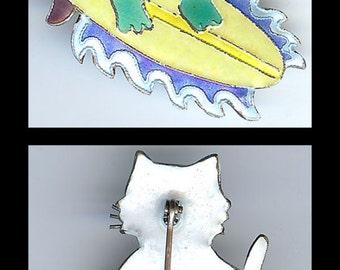 ZARAH adorable sterling silver enamel SURFING KITTY cat brooch pin