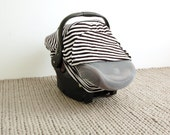 Car Seat Cover - BLACK/WHITE STRIPE - Stretchy Car Seat Cover - Infant Baby Carrier Cover - Carseat Cover