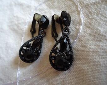Black Faceted Glass Teardrop Clip On Earrings
