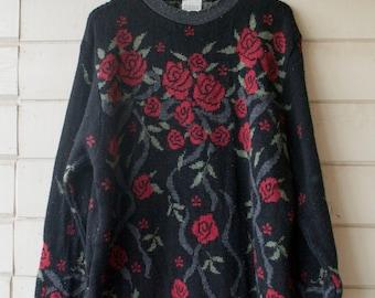 Vintage Black Rose Floral Sweater Dress - OS