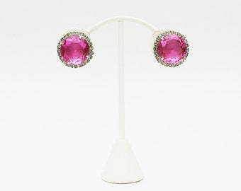 Pink Rhinestone Clip Earrings - Vintage 1950s Pink Stone Earrings