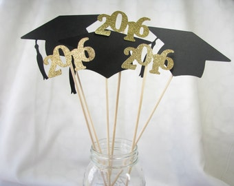 Graduation Centerpieces, Vase Picks, Party, Party Decorations, High School, College, Graduate, Cap & Tassel, Year, Date, Custom - 6
