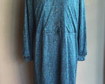 Vintage 70s Geometric pattern Maxi Dress Zen Blue Plus size 1X 2X SALE