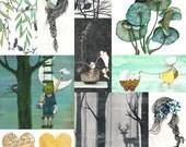 Any 10 postcards, Illustrated postcards,Watercolor, Pen, Pencils, Oil pastels, Gouache
