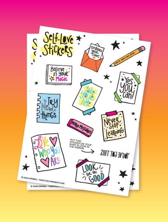Self Love Sticker Sheet - Inspiring Stickers - Positive Stickers - Love Yourself Stickers