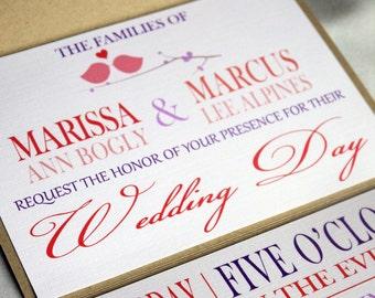 coral pink purple brown kraft love birds seal and send wedding invitation