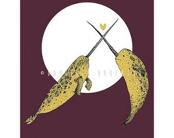 Narwhal Always Love You A4 Valentine's or Anniversary or Birthday Card