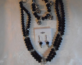 Black Crown Necklace with Bracelet and Earring Set