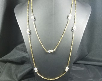Gold Chain and Clear Crystal Necklace