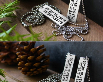 Matching Longitude and Latitude Necklaces - GPS Coordinates Jewelry - Custom Coordinates Necklace - By Modern Out