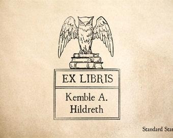 Owl Ex Libris Rubber Stamp - 2 x 3 inches